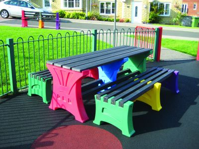 Multi Coloured Bench & Table Set   PTB 6