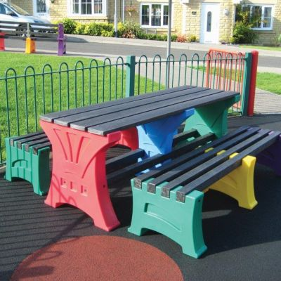 Multicoloured Table and Bench Set